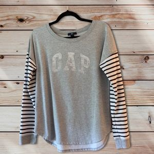 GAP  Factory Grey Striped Spell Out Crewneck-S